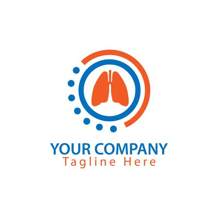 Lungs icon in circle, Health Logo Vector