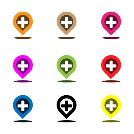 Placeholder and plus sign. Plus icon button set