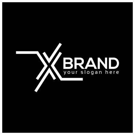 Letter X on Black Background.  Logo Design Template. Flat design