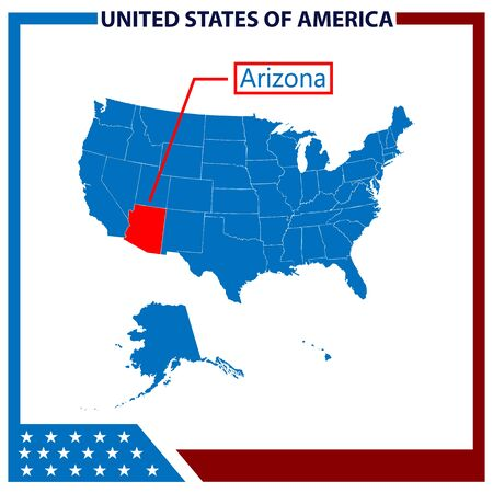 Arizona Map with American Flag Frame