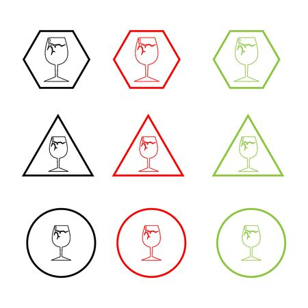 Broken glass icon. Vector danger warning sign, line icon. Ilustracja