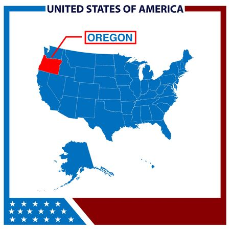 Oregon Map with American Flag Frame