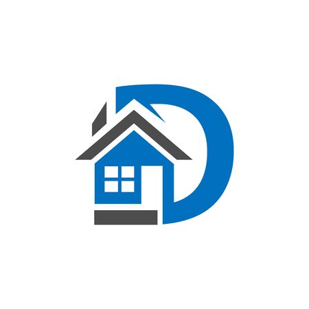 combines house and the letter D,  abstract houses. vector illustrator