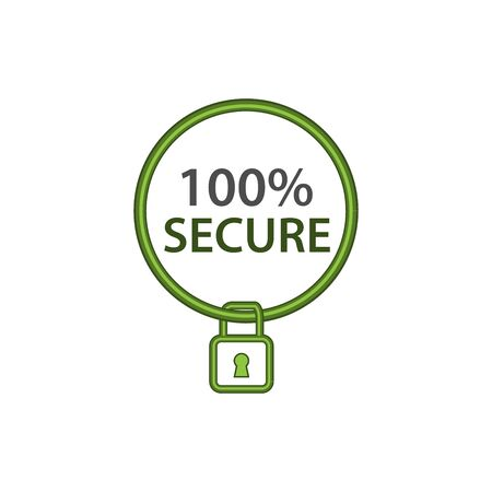 Secure icon, flat design.circle and padlock icon