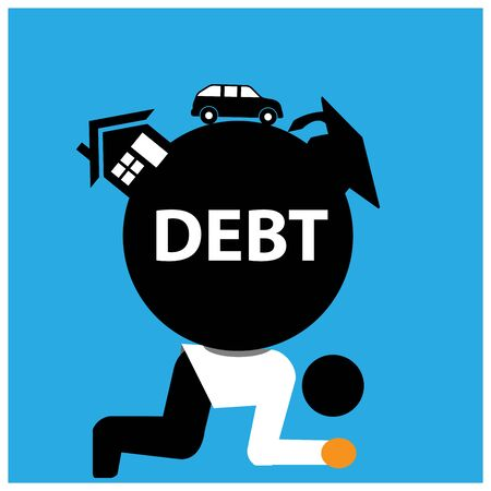 Office Worker carry house, school fees, and car debt. The Vector Illustration is showing the concept of Financial. Vettoriali