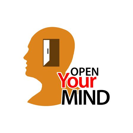 Open Your Mind with people icon. Flat vector illustration on white background Illustration