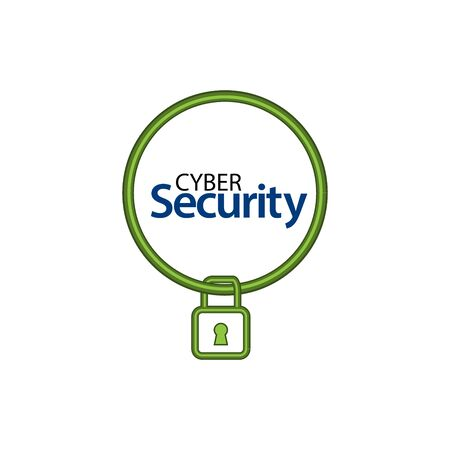 Cyber security with padlock icon. Flat vector illustration on white background