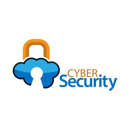 Cyber security with cloud icon. Flat vector illustration on white background