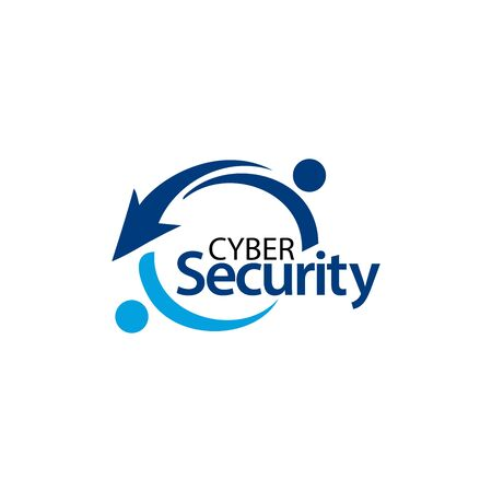 Cyber security with people icon. Flat vector illustration on white background