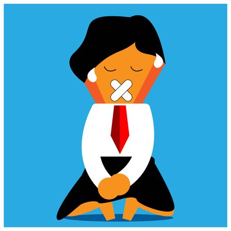 Office Worker are not allowed to speak. flat design
