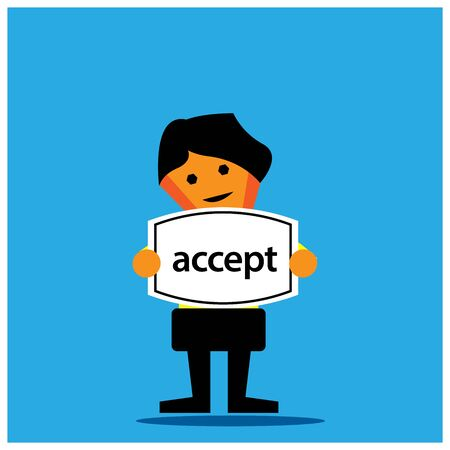 Accept and businessman. Vector illustration on blue background