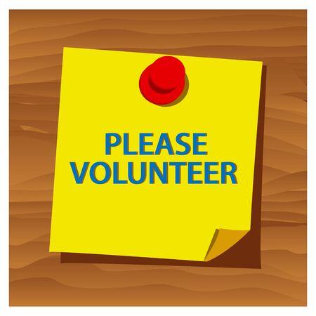 Reminder paper word please volunteer vector. Vector Illustration.