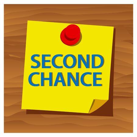 Rappel papier mot vecteur seconde chance. Illustration vectorielle.