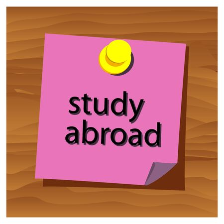 Reminder paper word study abroad vector. Vector Illustration. Stock Illustratie
