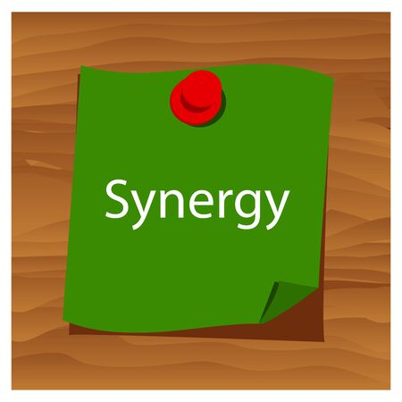Reminder paper word synergy vector. Vector Illustration.
