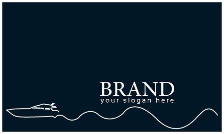 Ship line background.  Vector Illustration on blue background. Flat design.  line logo Illustration