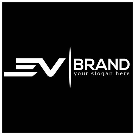 Letter E and V on White background. logo has the impression fast and reliable. Logo Design Template.