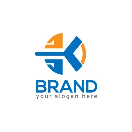 Letter K and circle on White background. logo has the impression fast and reliable. Logo Design Template.