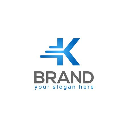 Letter K on White background. logo has the impression fast and reliable. Logo Design Template.