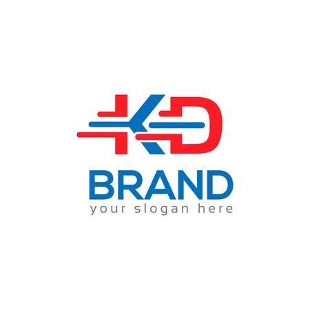 Letter K and D on White background. logo has the impression fast and reliable. Logo Design Template.