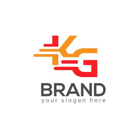 Letter K and G on White background. logo has the impression fast and reliable. Logo Design Template.