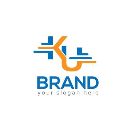 Letter K and U on White background. logo has the impression fast and reliable. Logo Design Template.