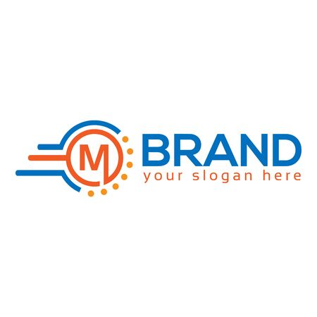 Letter M on White background. logo has the impression fast and reliable. Logo Design Template.