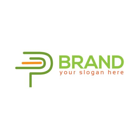 Letter P on White background. logo has the impression fast and reliable. Logo Design Template.