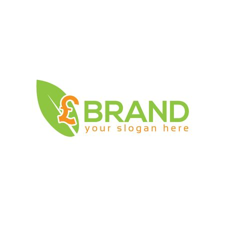 Leaf and Pound Sterling logo vector