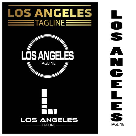 Los Angeles typography set, flat designs.