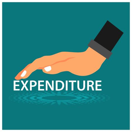 Expenditure and hand. This theme background is showing the concept of reduce expenditures. Flat vector