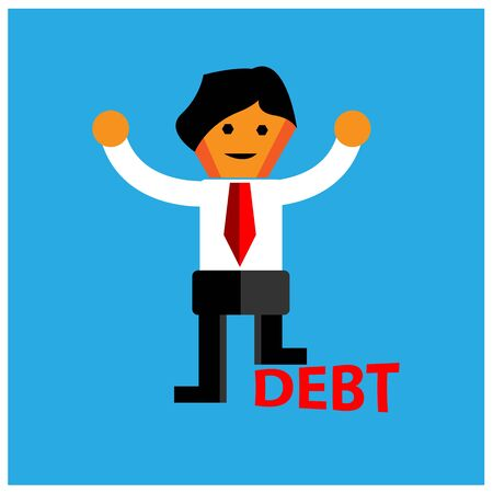 Office Worker stepped on debt. The Vector Illustration is showing the concept of Financial.