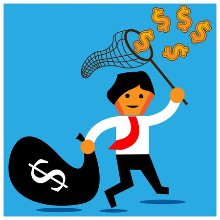 Office Worker trying to catch flying money with a butterfly net.The Vector Illustration is showing the concept of how to earn a lot of money.