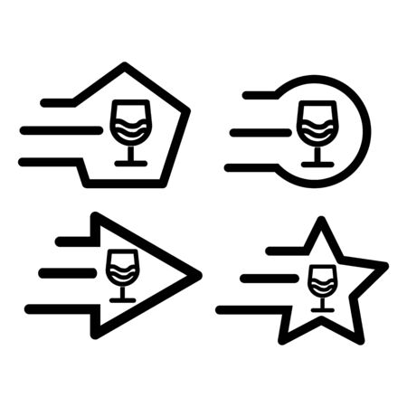 Drink glass icon set, Icon has the impression fast and reliable