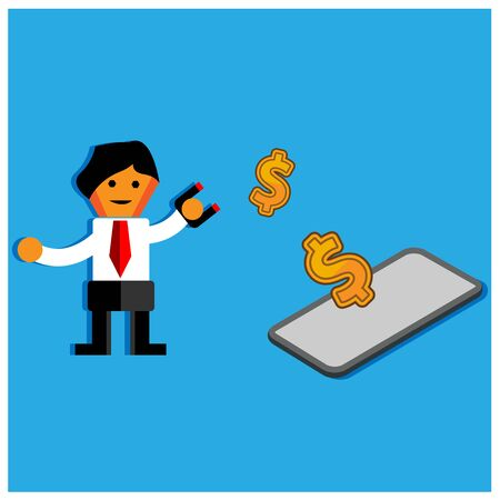 Office Worker trying to catch money with magnet.The Vector Illustration is showing the concept of how to earn a lot of money.