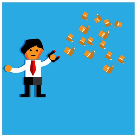 Office Worker trying to catch flying money with magnet.The Vector Illustration is showing the concept of how to earn a lot of money. Ilustrace