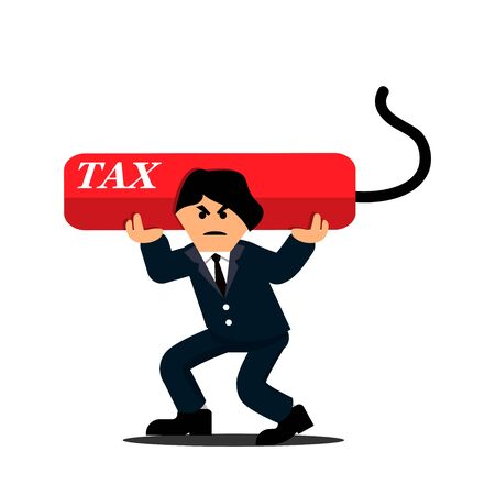 Businessman carrying heavy debt tax. Flat designs