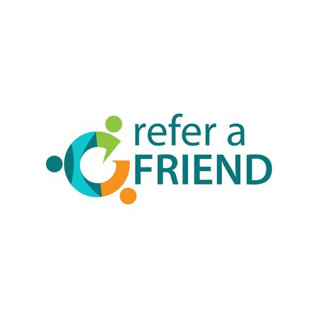Refer a friend with people icon. Flat vector illustration on white background.