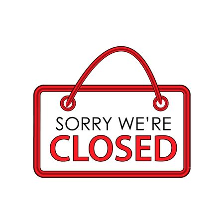 Were Closed sign on white background 向量圖像
