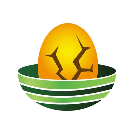 Cracked eggs in the nest. Eggs icon,  vector illustration