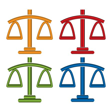 Colorful court scales set icons, flat design
