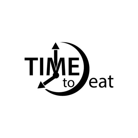 Time to eat. Flat vector alarm clock icon on white background.