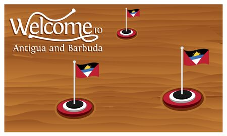Welcome to Antigua and Barbuda poster with Antigua and Barbuda flag,  time to travel Antigua and Barbuda. vector illustration isolated