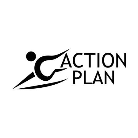 Plan de acción con icono de personas. Ilustración de vector plano en blanco