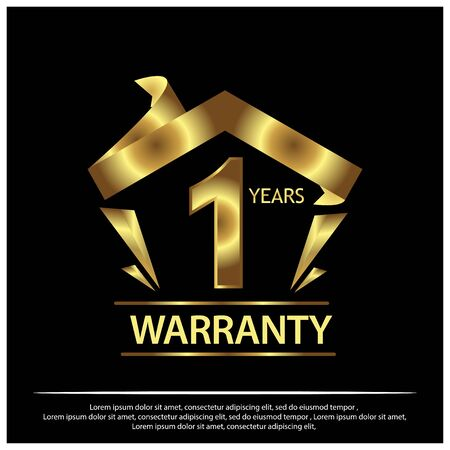 One year warranty golden label on black background - Vect