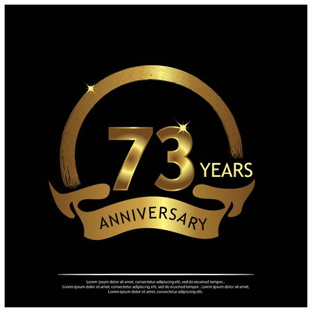 seventy three years anniversary golden. anniversary template design for web, game ,Creative poster, booklet, leaflet, flyer, magazine, invitation card - Vector Illustration