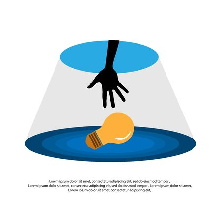 hand reaching through hole to grab light bulb. Idea metaphor vector