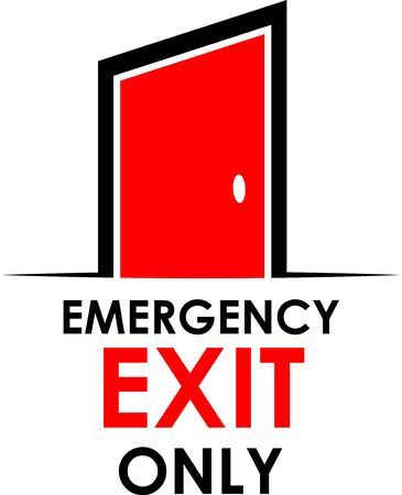 Emergency exit only with door, stock illustration