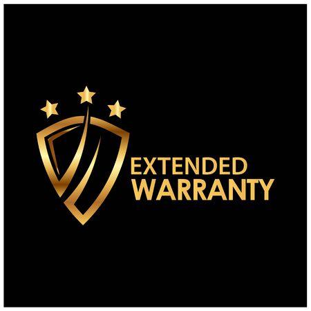 Lifetime warranty golden label on black background - Vector Illustration