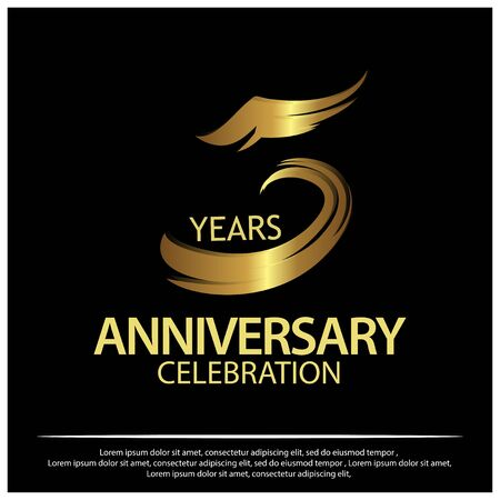 Five Years Anniversary Golden. anniversary template design for web, game , poster, booklet, leaflet, flyer, magazine, invitation card